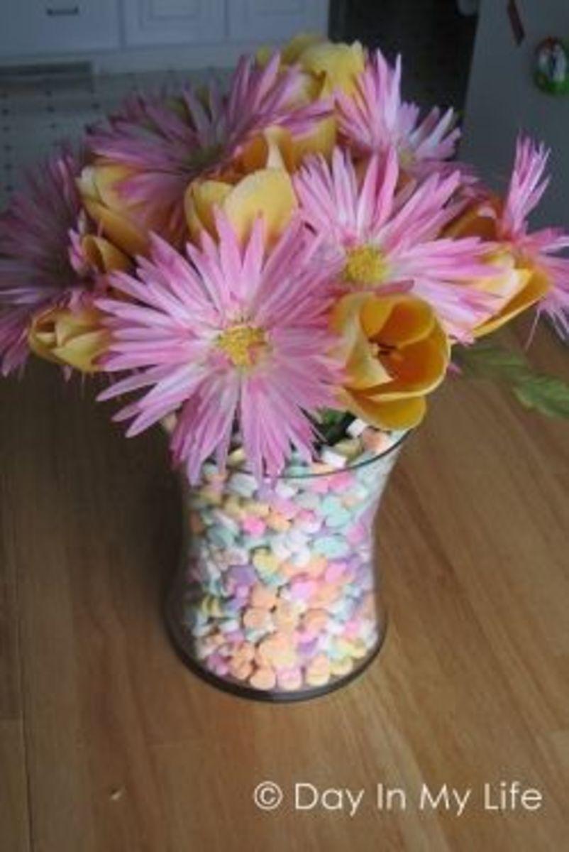 candy heart vase flower arrangement