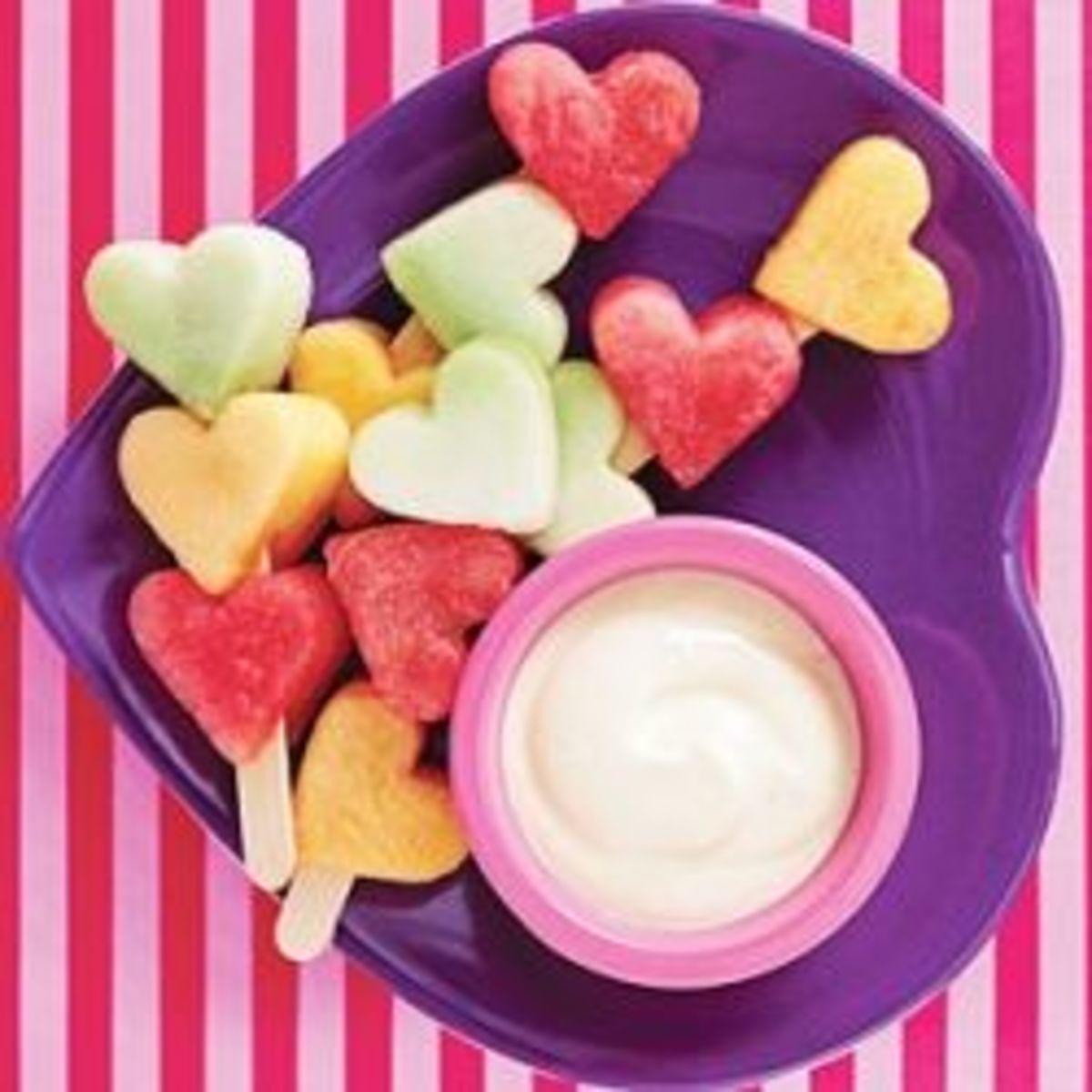 heart shaped fruit kabob