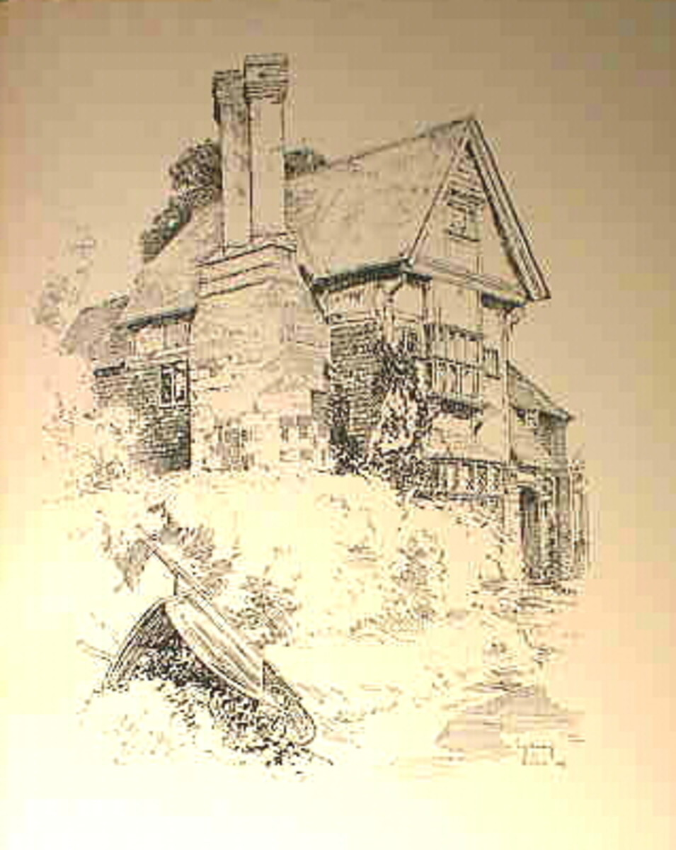 Another wonderful old black and white English cottage illustration  from the same book.