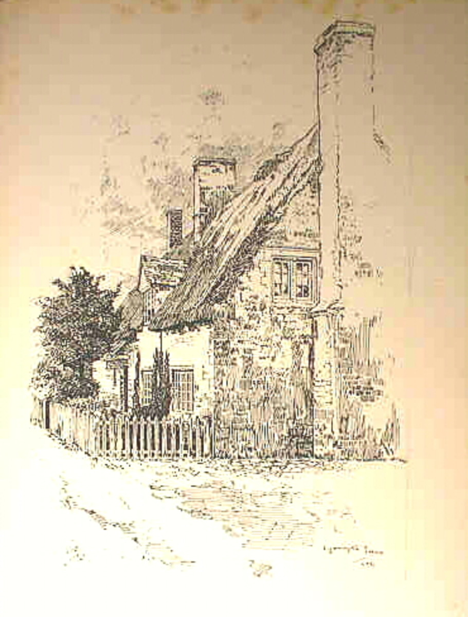 Charming English cottage illustration from an antique book