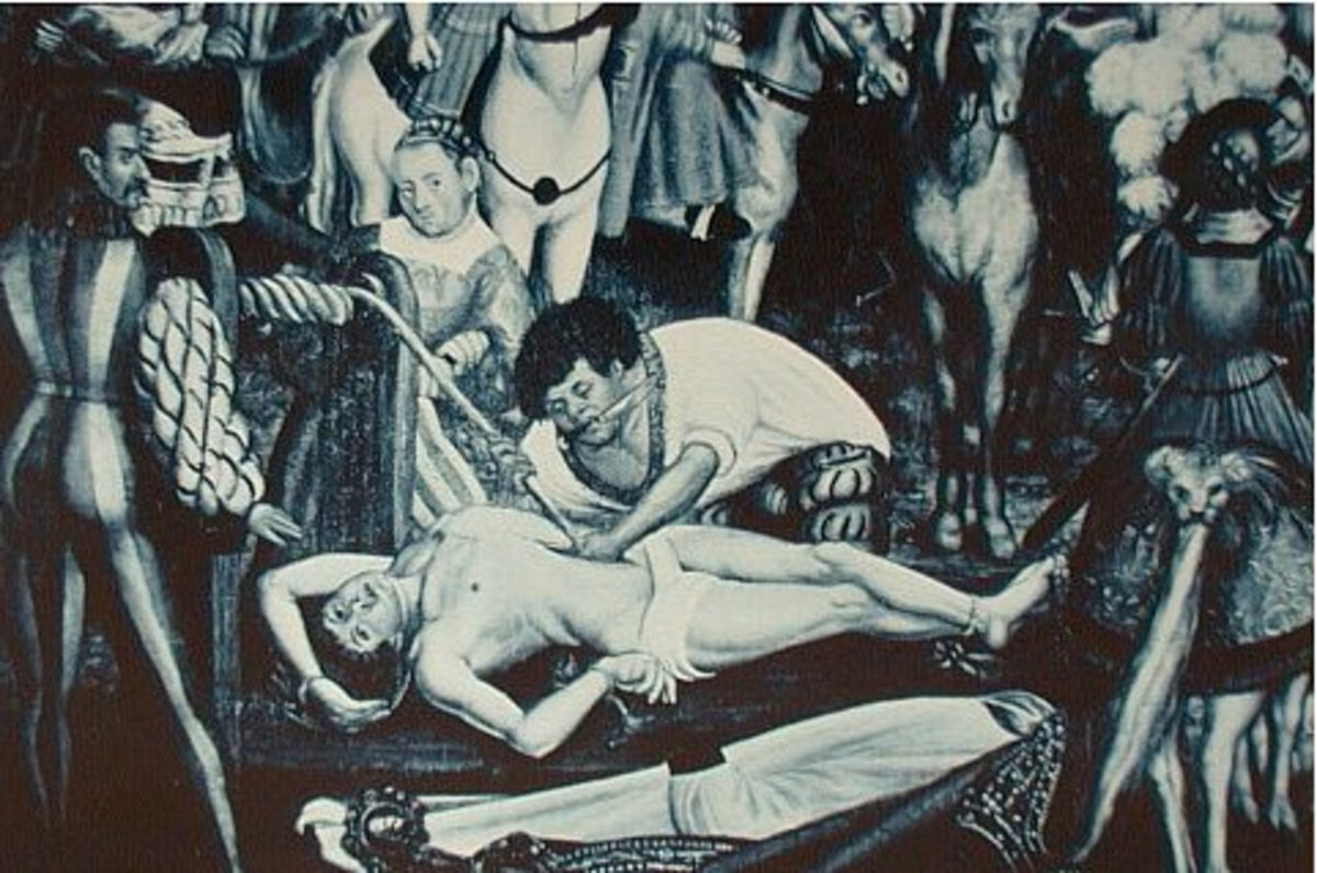 16th century painting of the martyrdom of Saint Erasmus