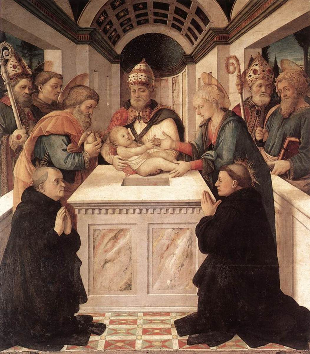 15th century rendering of The Presentation by Filippo Lippi. Saint Peregrine is shown on the right.