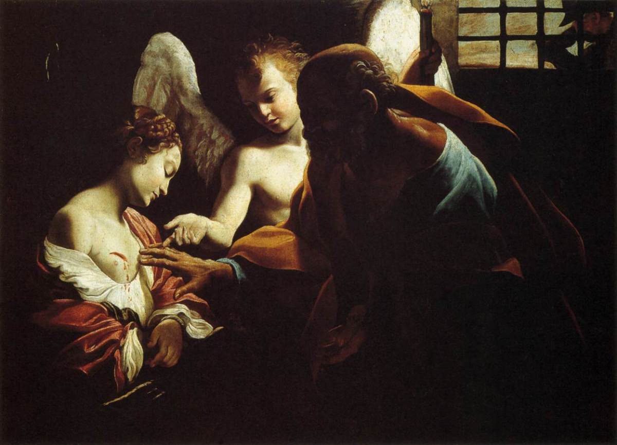 17th century picture by Giovanni Lanfranco showing Saint Agatha with Saint Peter