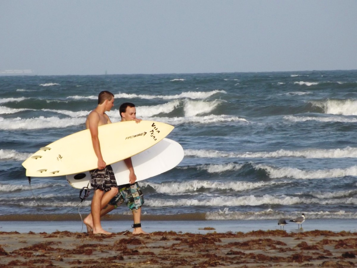 Surfing in Port Aransas along the Gulf of Mexico