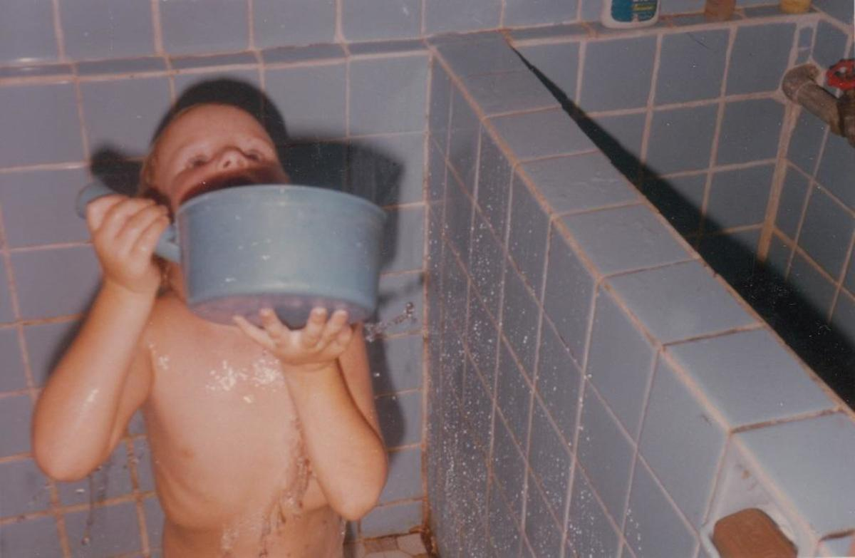"""Bathing in that country was done by dipping water from a tiled """"tub"""" that held 15-20 gallons."""