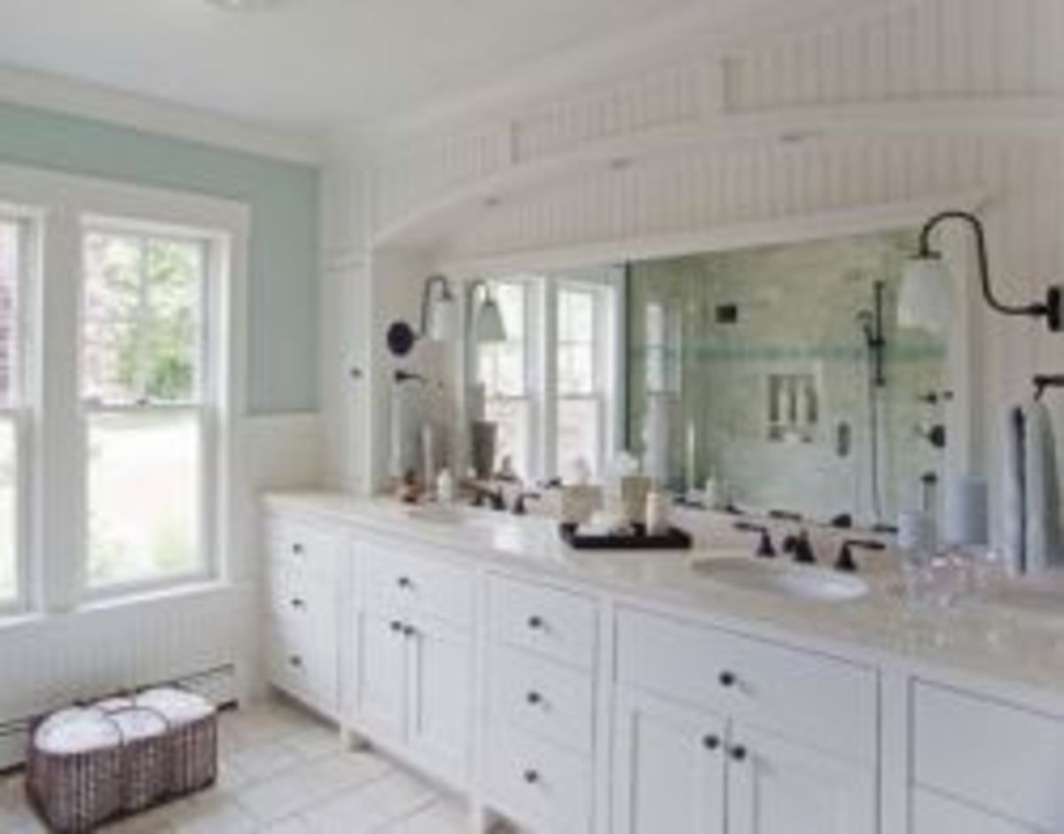 White painted vanities are the hallmark of cottage style