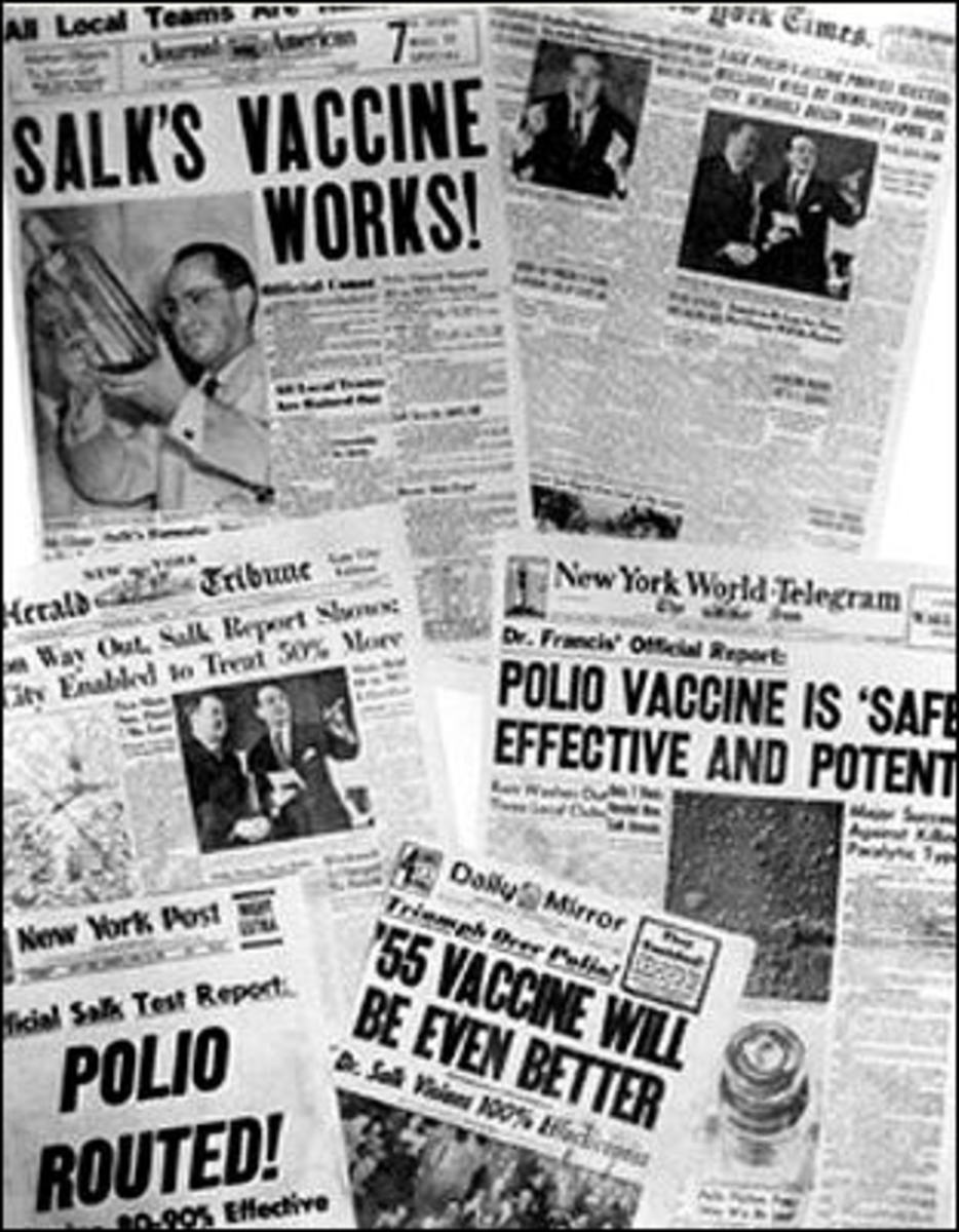 Newspaper headlines announced the success of the Salk polio vaccine