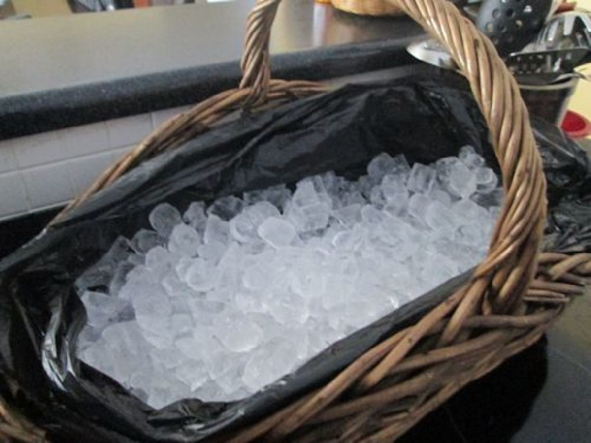 Fill with ice to within 1 to 2 inches of the lowest sides of your basket.