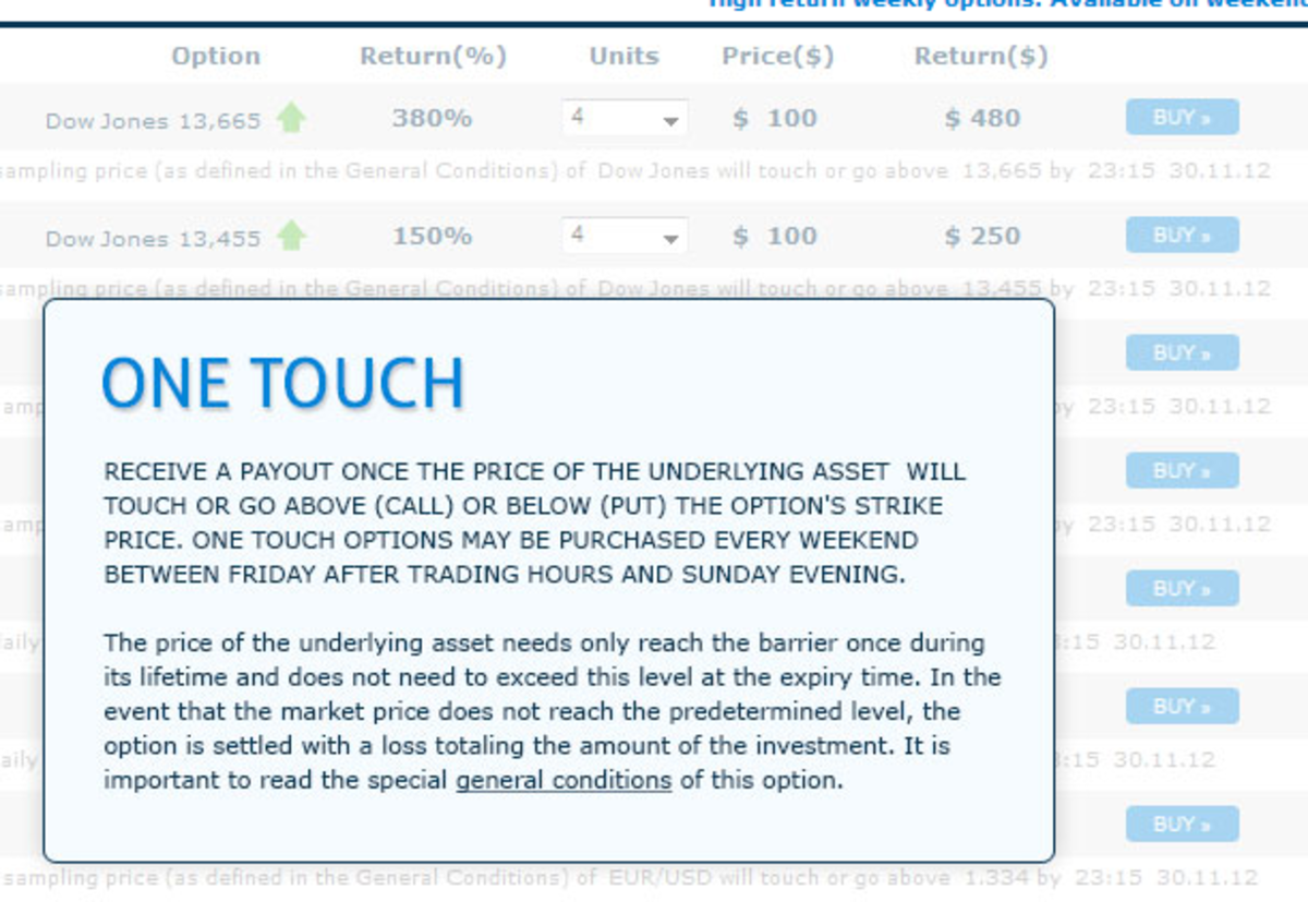 One touch options offer bigger payouts but also come with bigger risks.