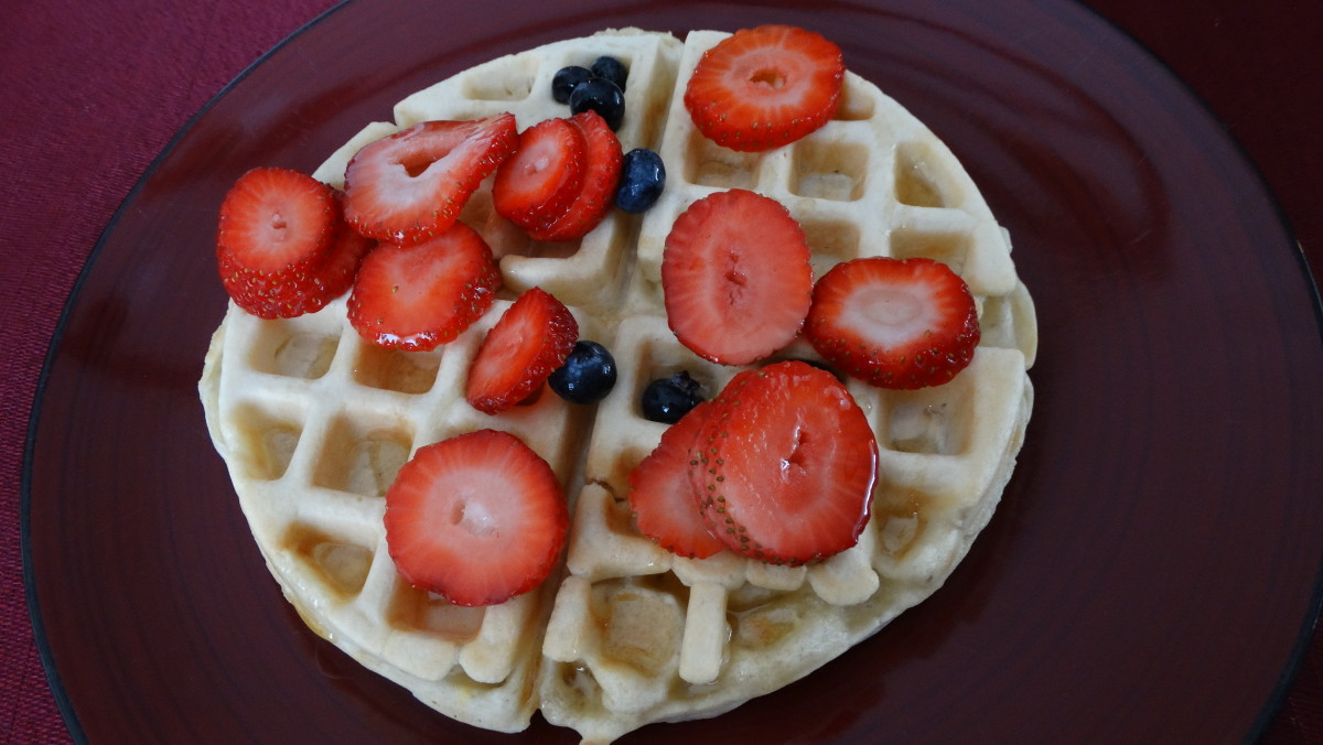 Large waffle topped with berries