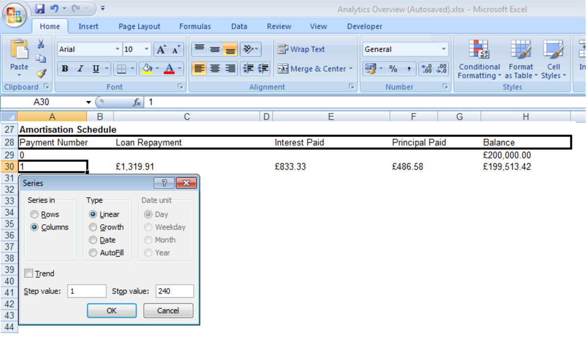 Creating a series in a column in Excel 2007 and Excel 2010.