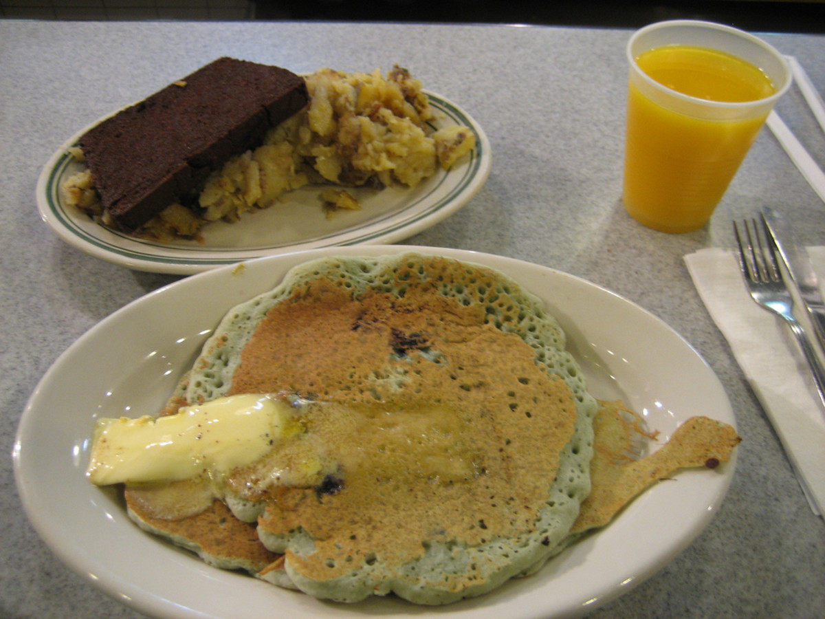 Scrapple is served here with pancakes and eggs. It is a staple in Maryland cuisine.