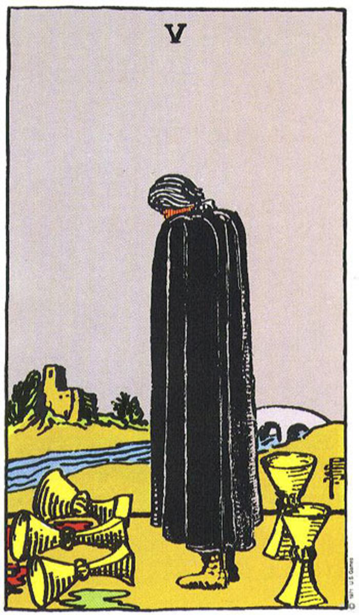 5 of cups, the Arm of the Hierophant