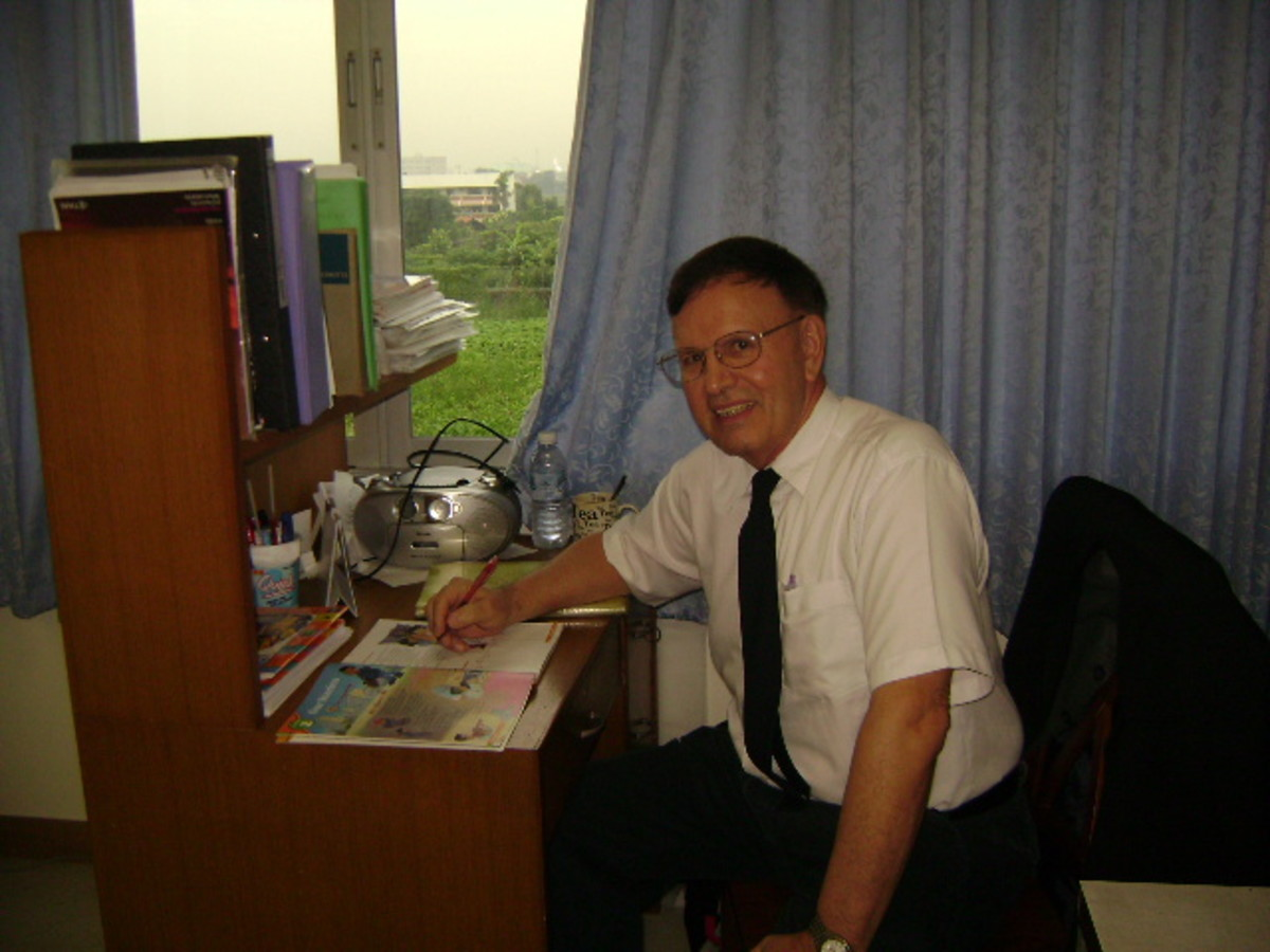 The author as an English teacher at Saint Joseph Bangna School in Thailand.  Picture taken in 2009.