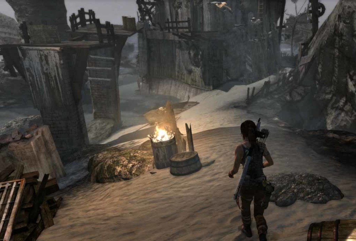 Lara needs to find three small staircase like pillars to climb to get to the Endurance wreck