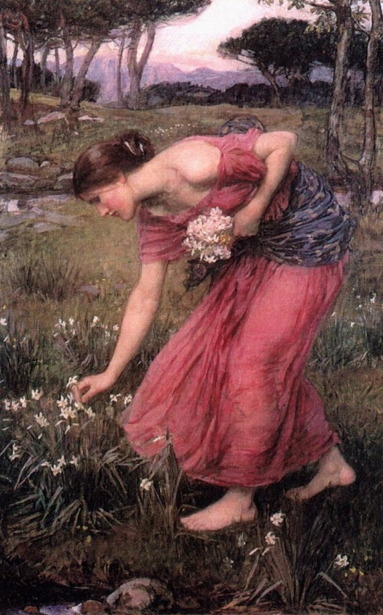 Persephone gathering narcissus flowers.