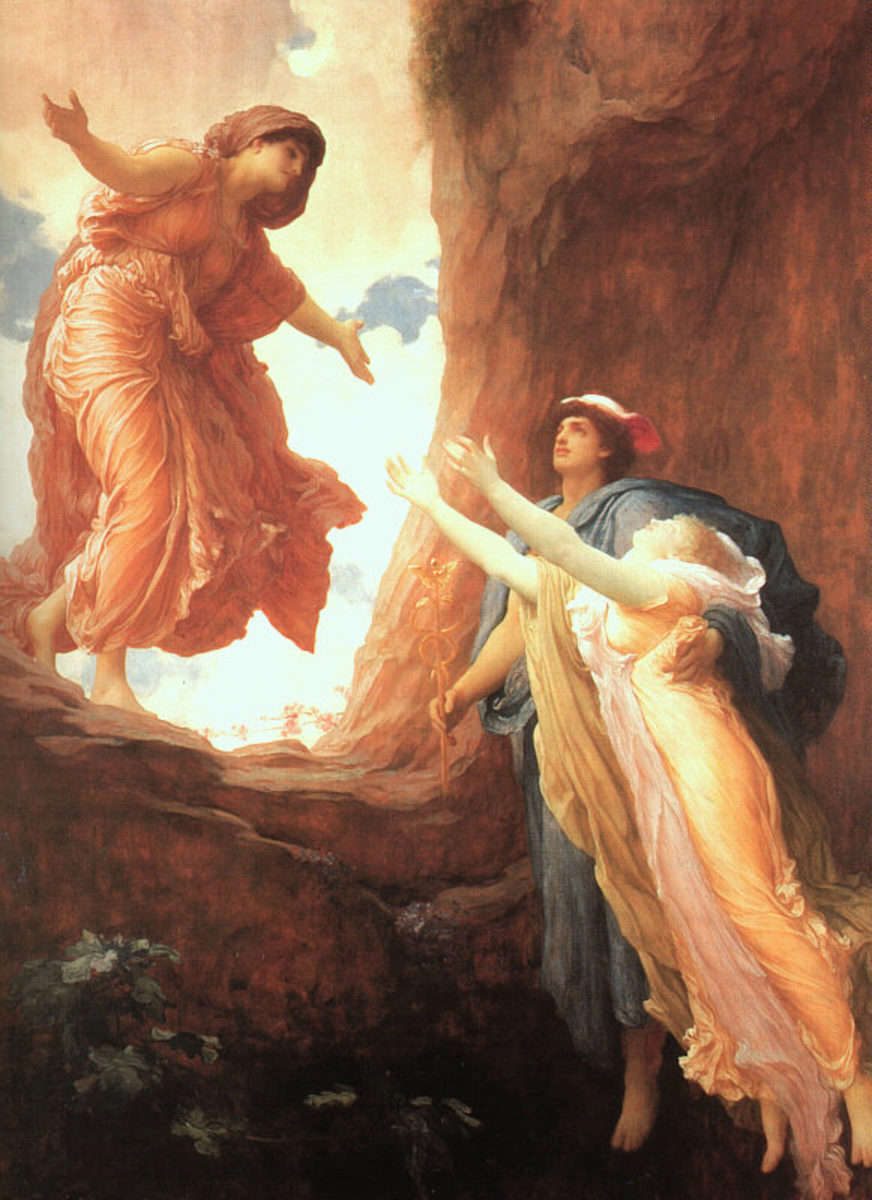Persephone returning to Demeter with Hermes by Demeter's side.