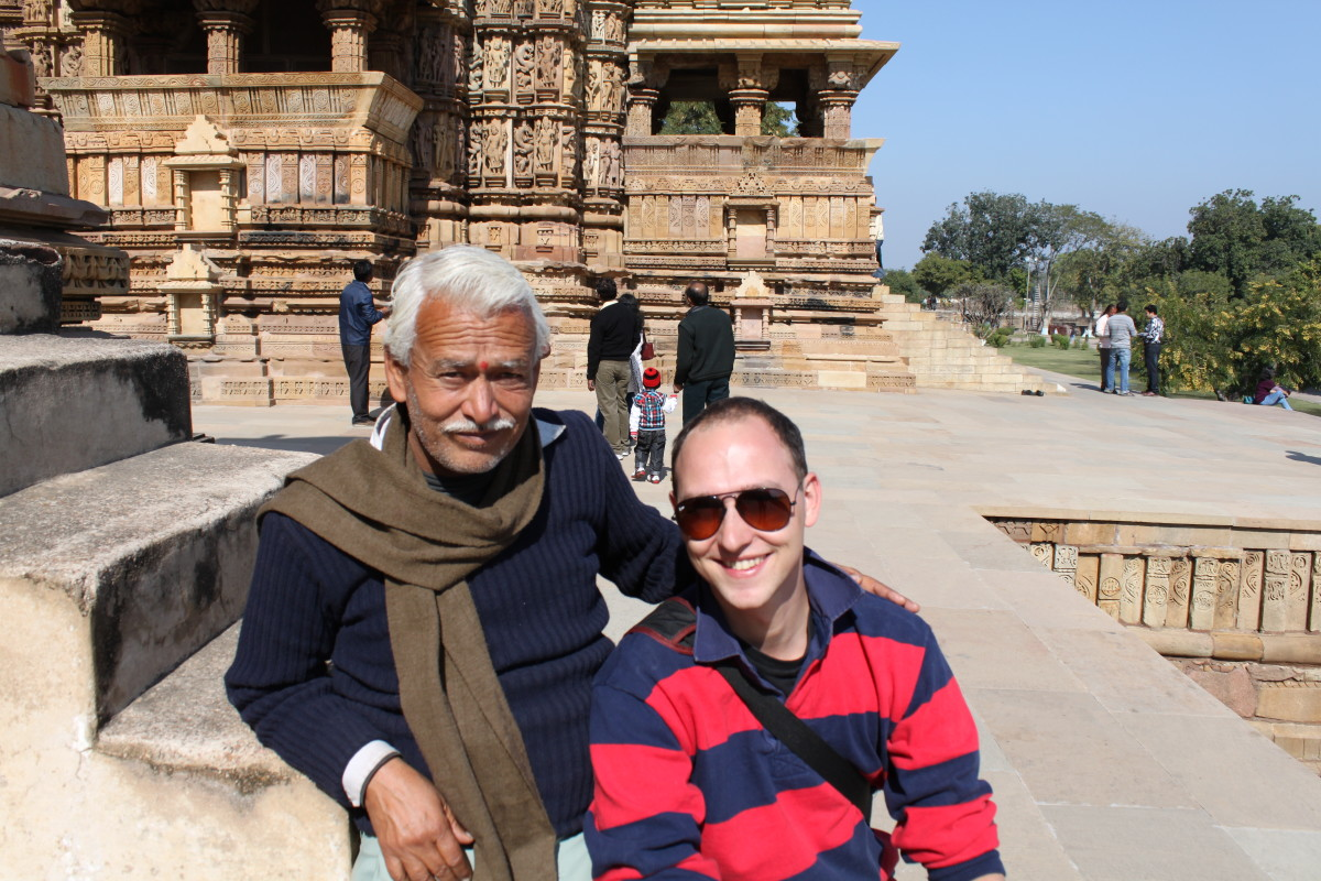 Being willing to talk to strangers can also help create a sense of community in a place far from home - like this welcoming man with whom we spent a few hours as we wandered around the temples in Khajuraho, India.