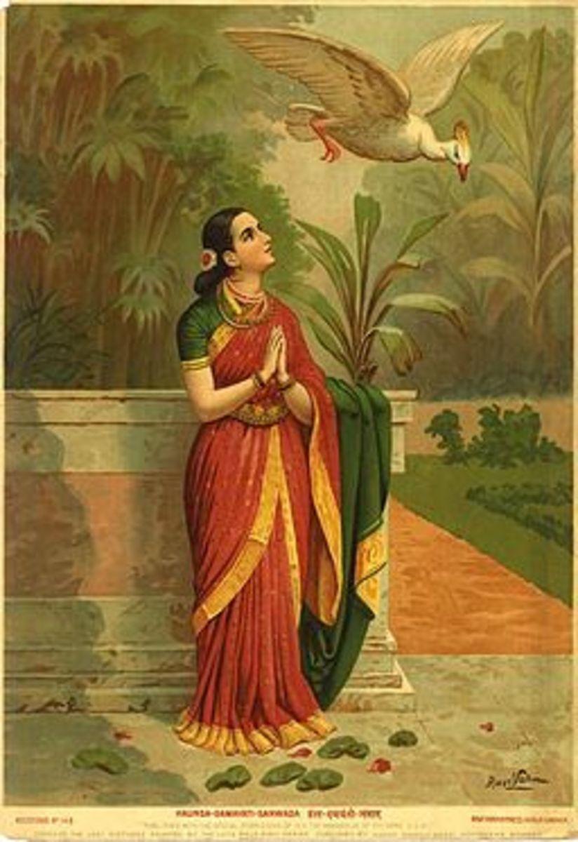 Damayanti during separation messaging her lover Nala through a swan