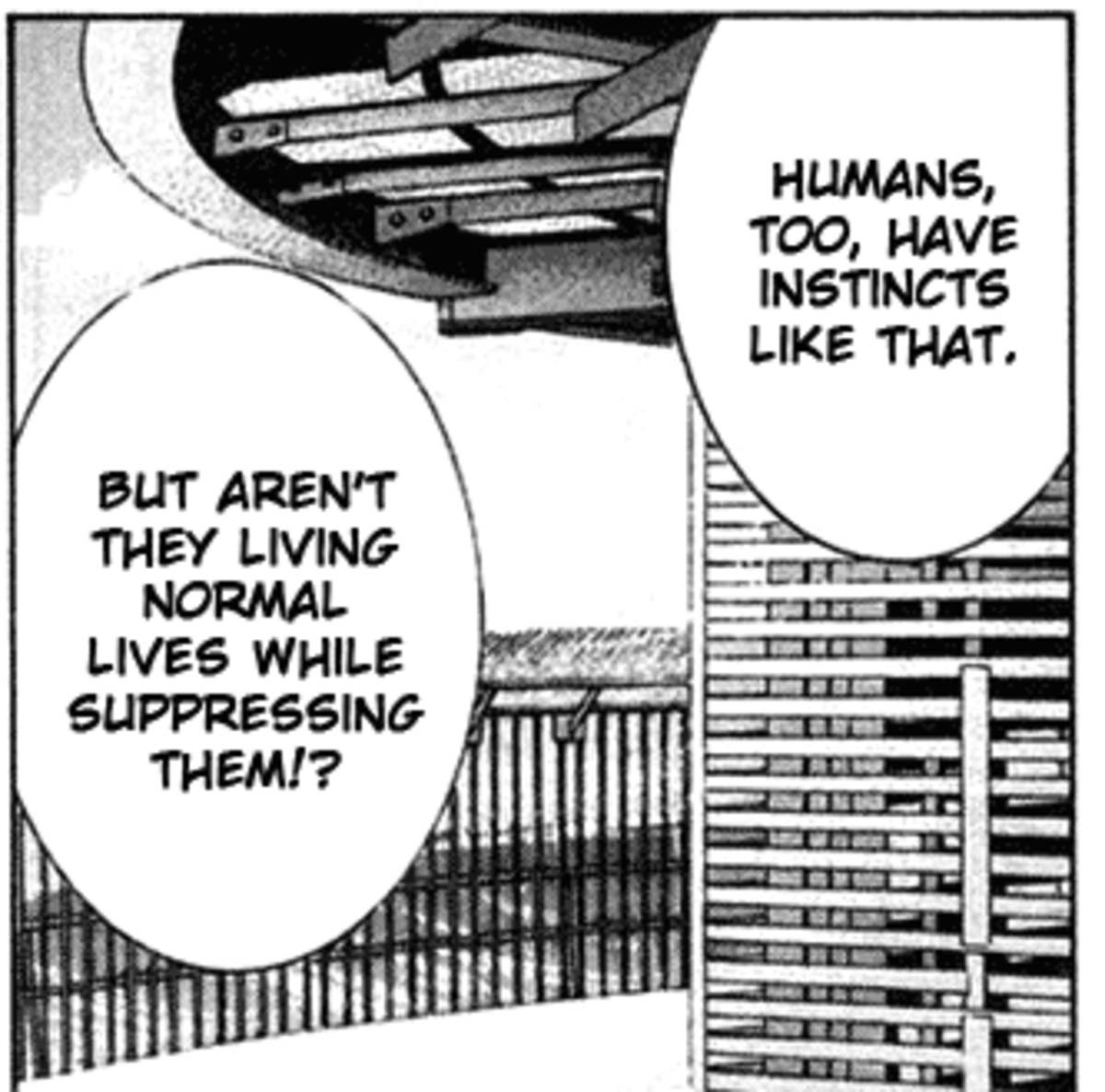 Kouta's monologue from the previous image continues, revealing the truth about human nature.