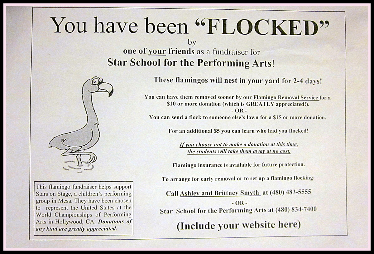 "Be creative when making your flocking forms and be sure to let everyone know who is benefiting from the money you raise. Do an image Google search for ""Flamingo Flocking Forms"" to see more examples."