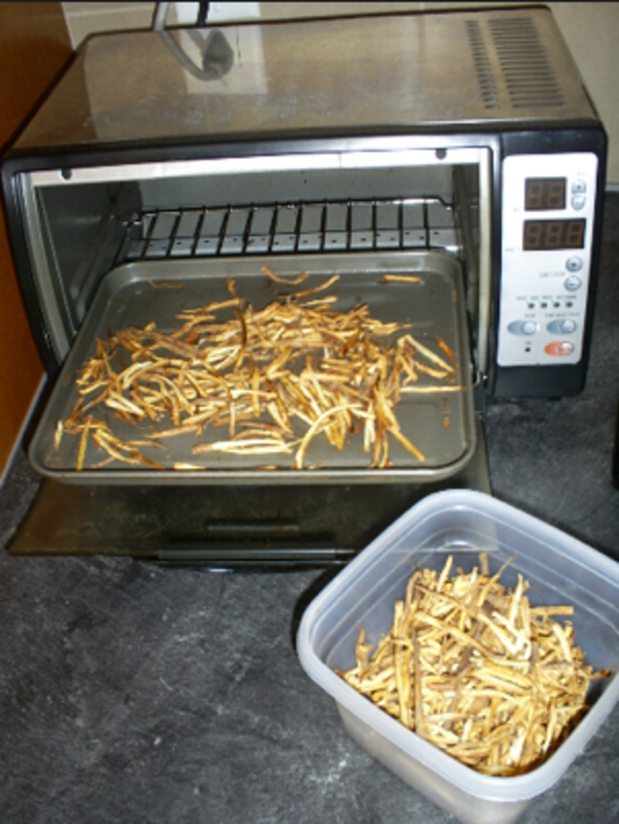 Roasting dandelion roots