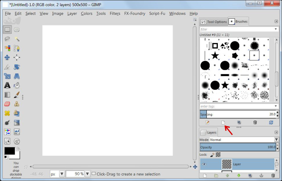 Fig. 3 Making a star brush in GIMP 2.8