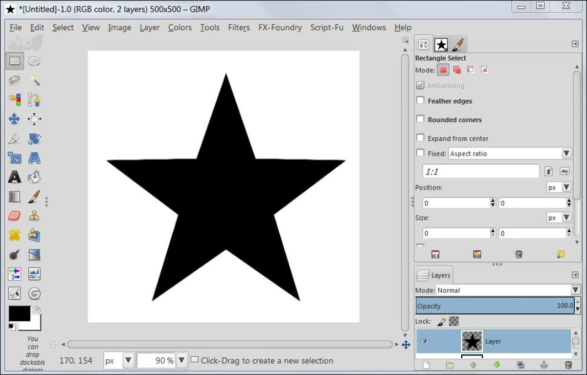 Fig. 5  Making a star brush in GIMP 2.8