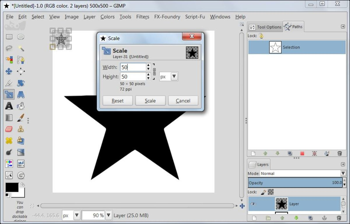 Fig. 6  Making a star brush in GIMP 2.8