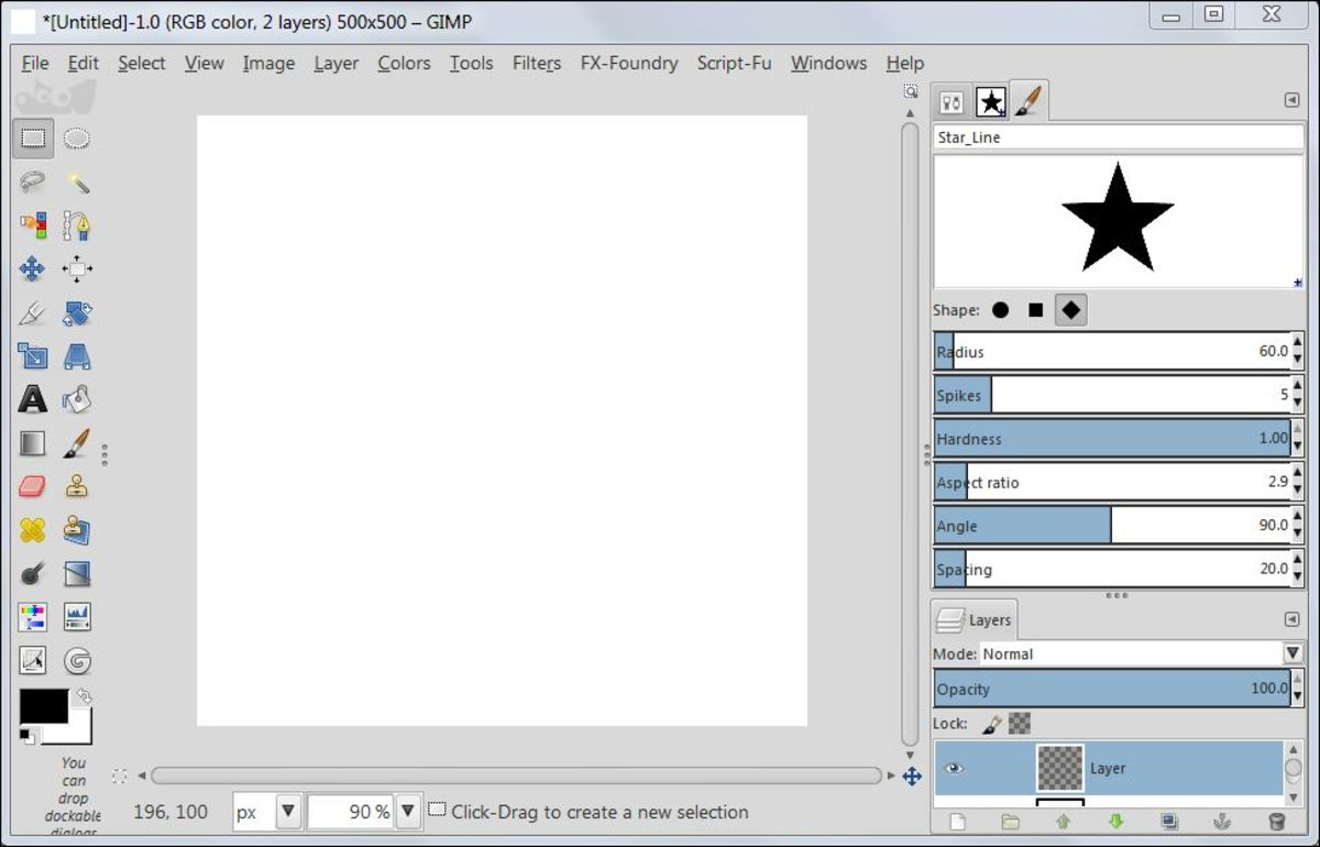 Fig. 4  Making a star brush in GIMP 2.8