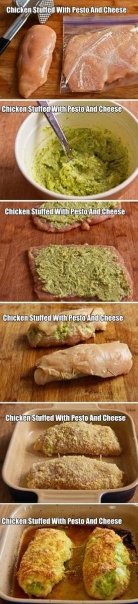 if your looking for a wonderful chicken recipe that goes perfect with pasta then here it is. Here you have baked chicken stuffed with pesto and cheese. Serve it with your favorite pasta for a wonderful meal.