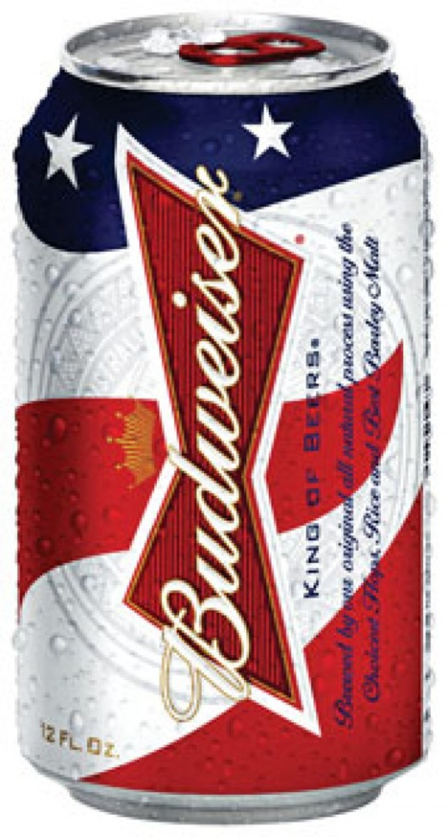 A flag-draped can of bud.