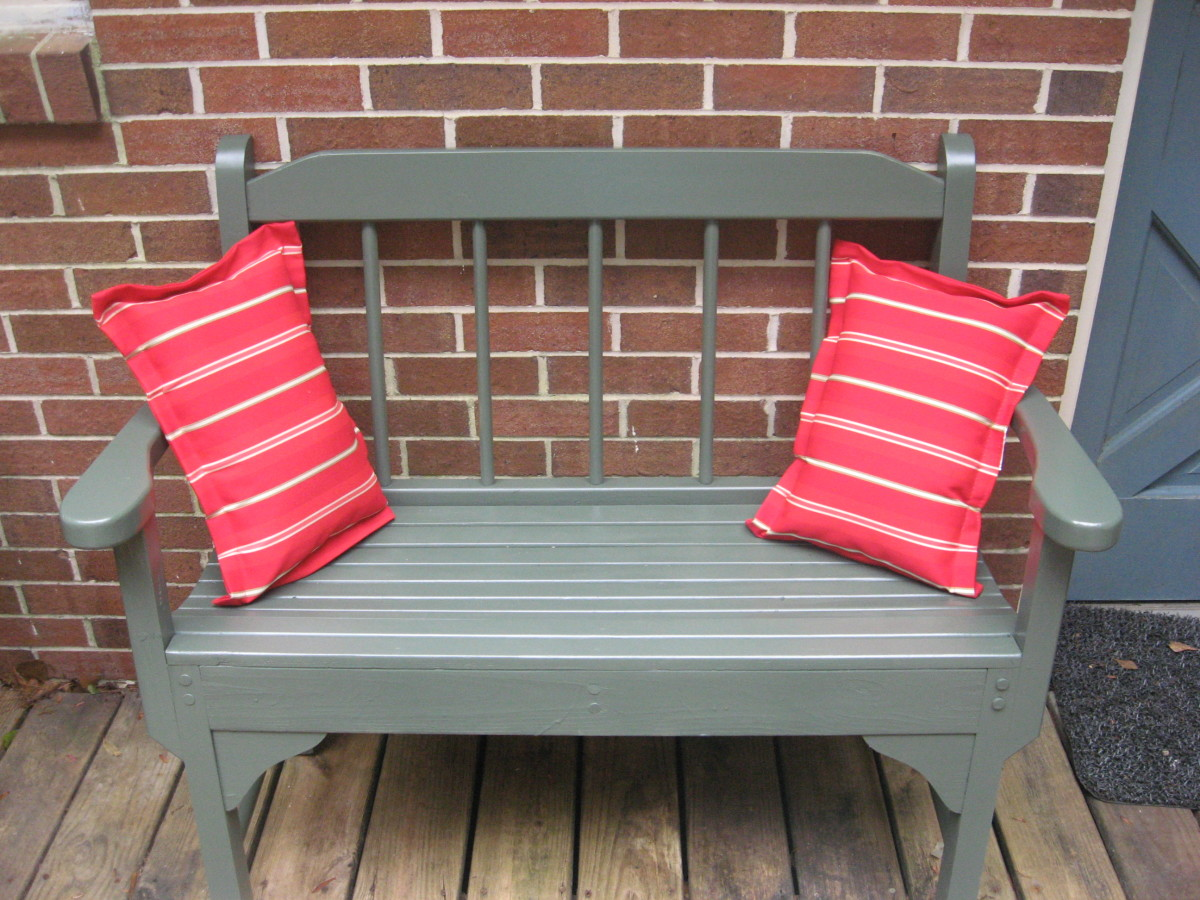 A couple of outdoor pillows added a lot to the old bench.