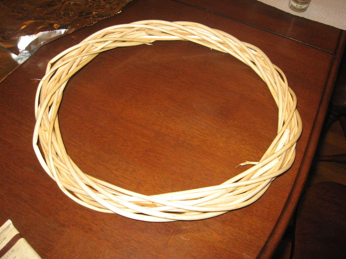 I stained this natural willow wreath with acrylic paint.