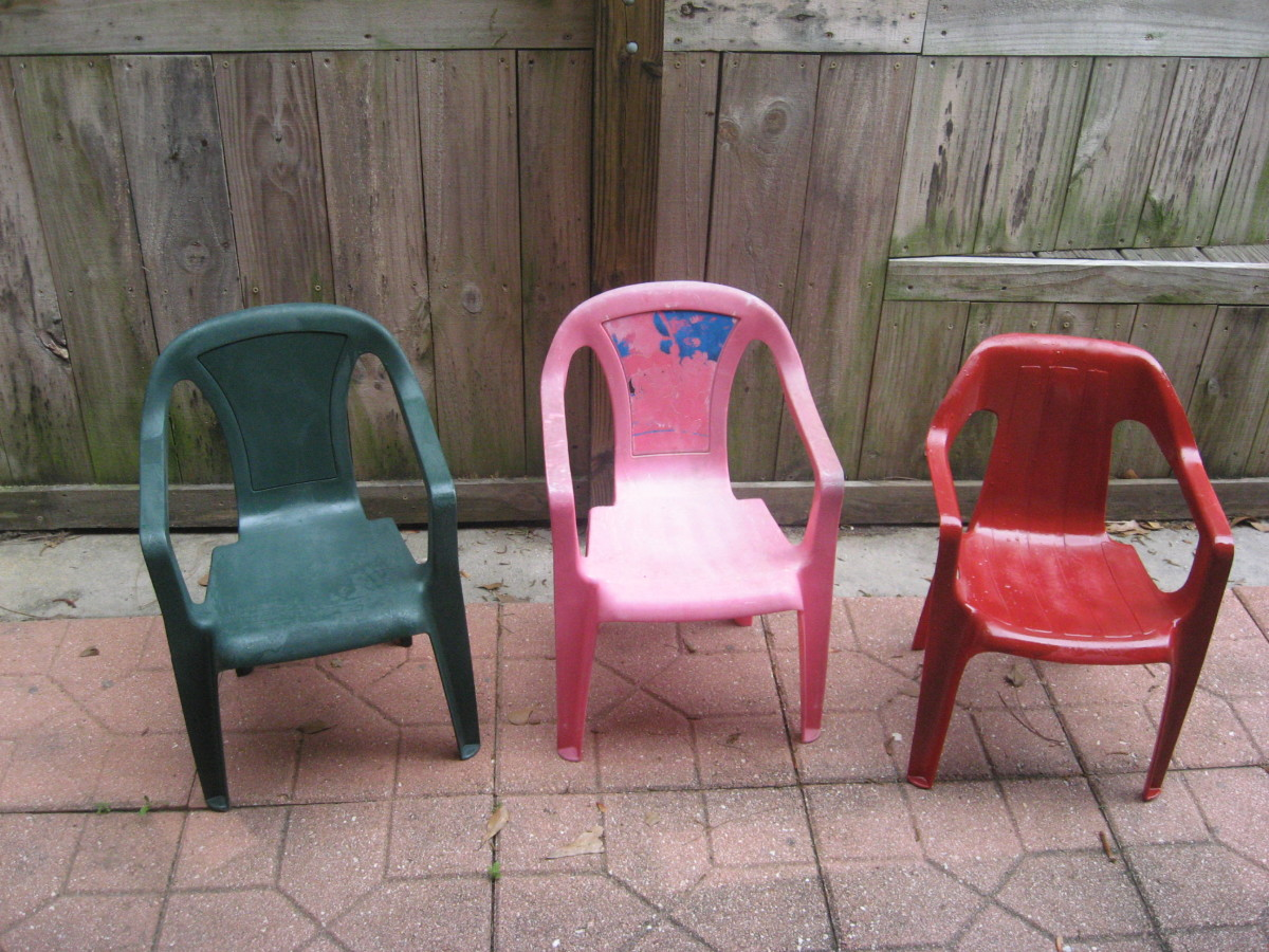 """The pink chair is the """"before."""""""