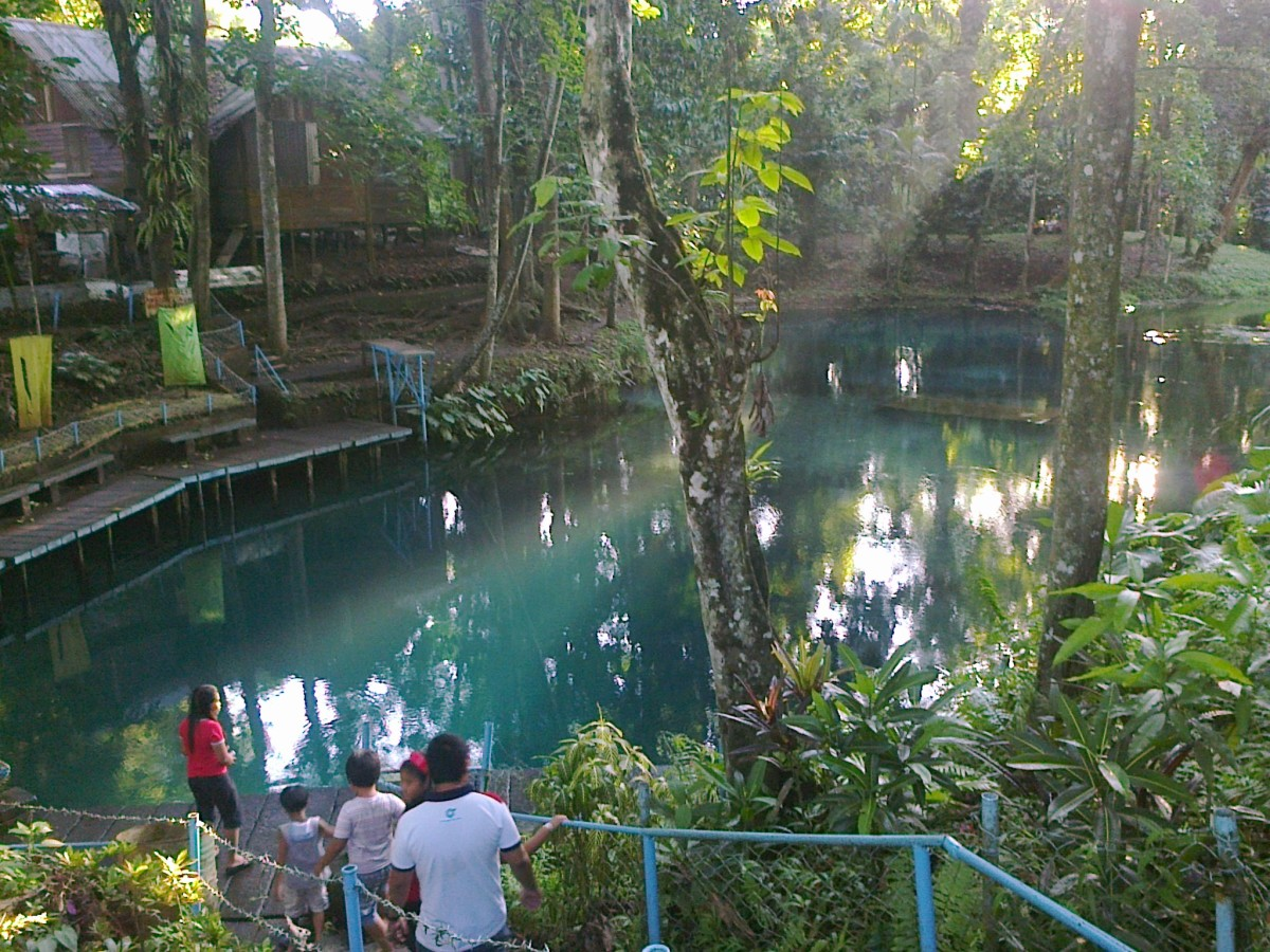The concrete stairway leading to the lagoon of Nasuli Spring Resort.