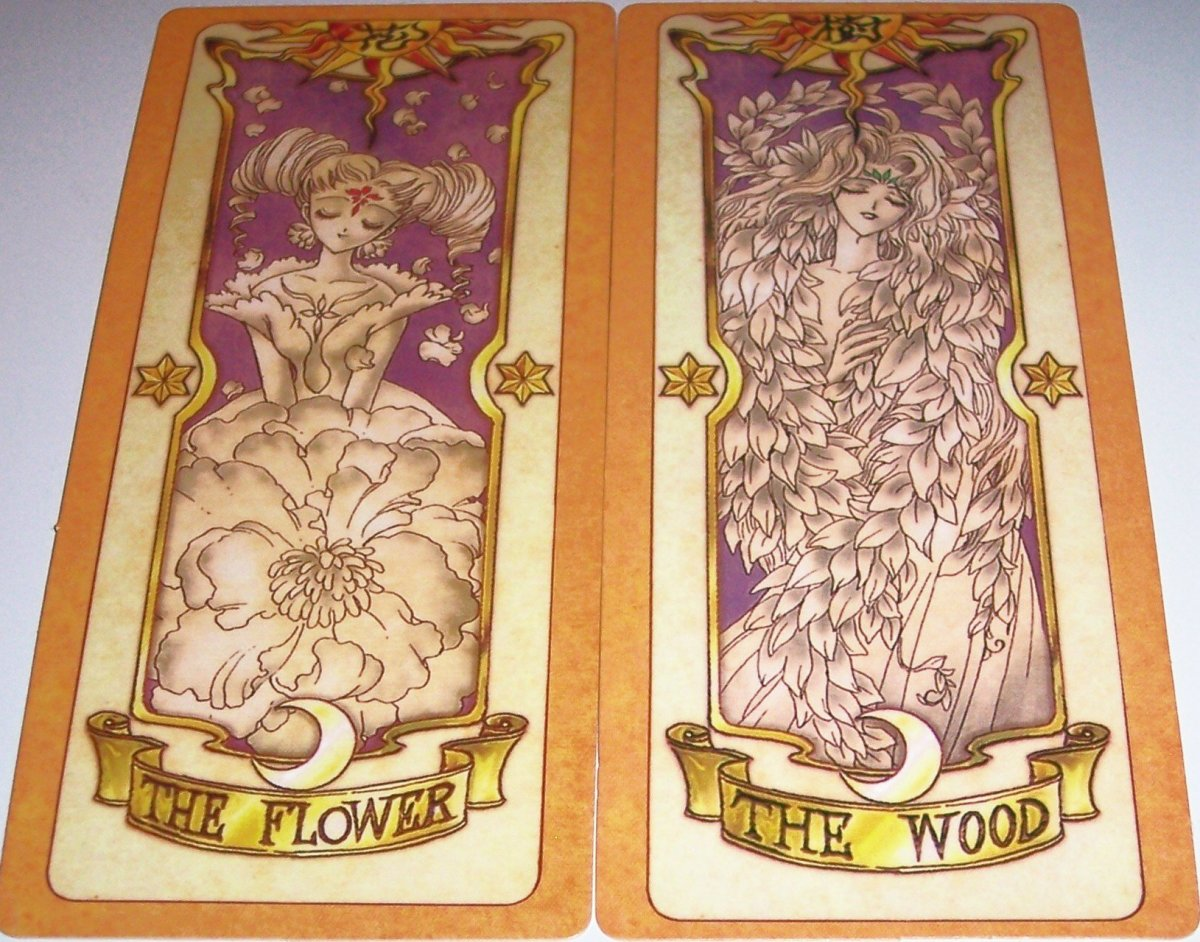 These are 2 Clow Cards from Card Captor Sakura - The Flower and The Wood