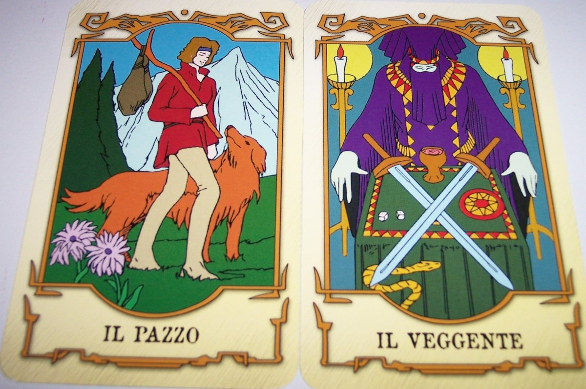 These are two of Hitomi's Tarot Cards from the anime series Tenkuu no Escaflowne (Vision of Escaflowne). Il Pazzo is Italian for The Fool while Il Veggente means The Magician