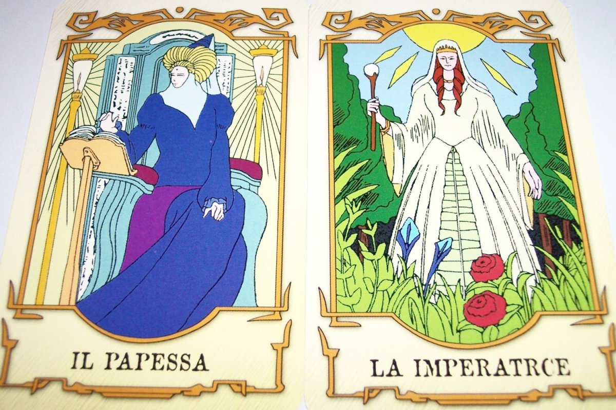 The names of Hitomi Kanzaki's Tarot Cards from the anime series Vision of Escaflowne (Tenkuu no Escaflowne) are in Italian. Il Papessa is The High Priestess while La Imperatrice is The Empress