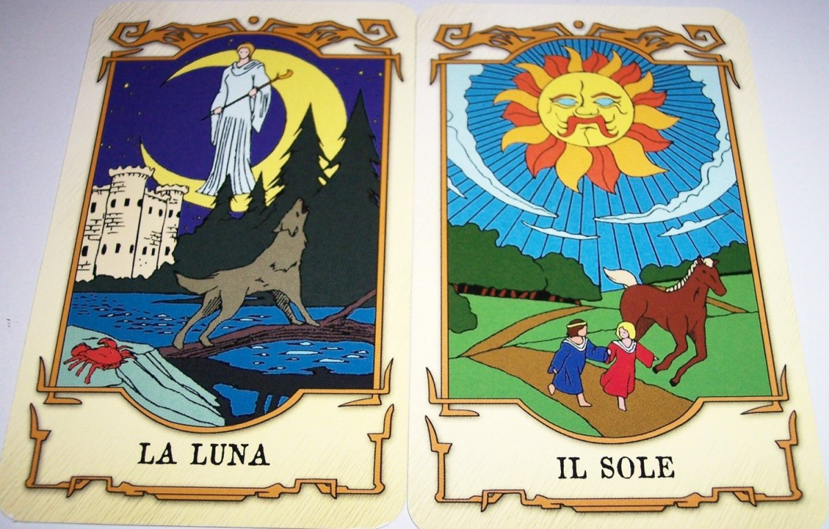 The names of Hitomi's Tarot Cards from the anime series Tenkuu No Escaflowne (Vision of Escaflowne) are in Italian. La Luna is The Moon while Il Sole is The Sun