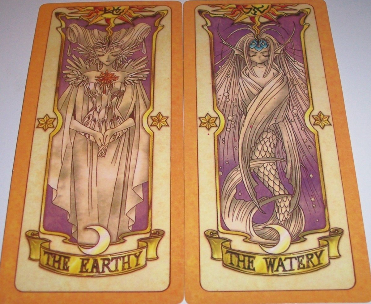 The Earthy and The Watery are 2 of the elemental Clow Cards from the Cardcaptor Sakura anime and manga series by CLAMP. The other 2 are The Firey and The Windy. These cards are all very powerful