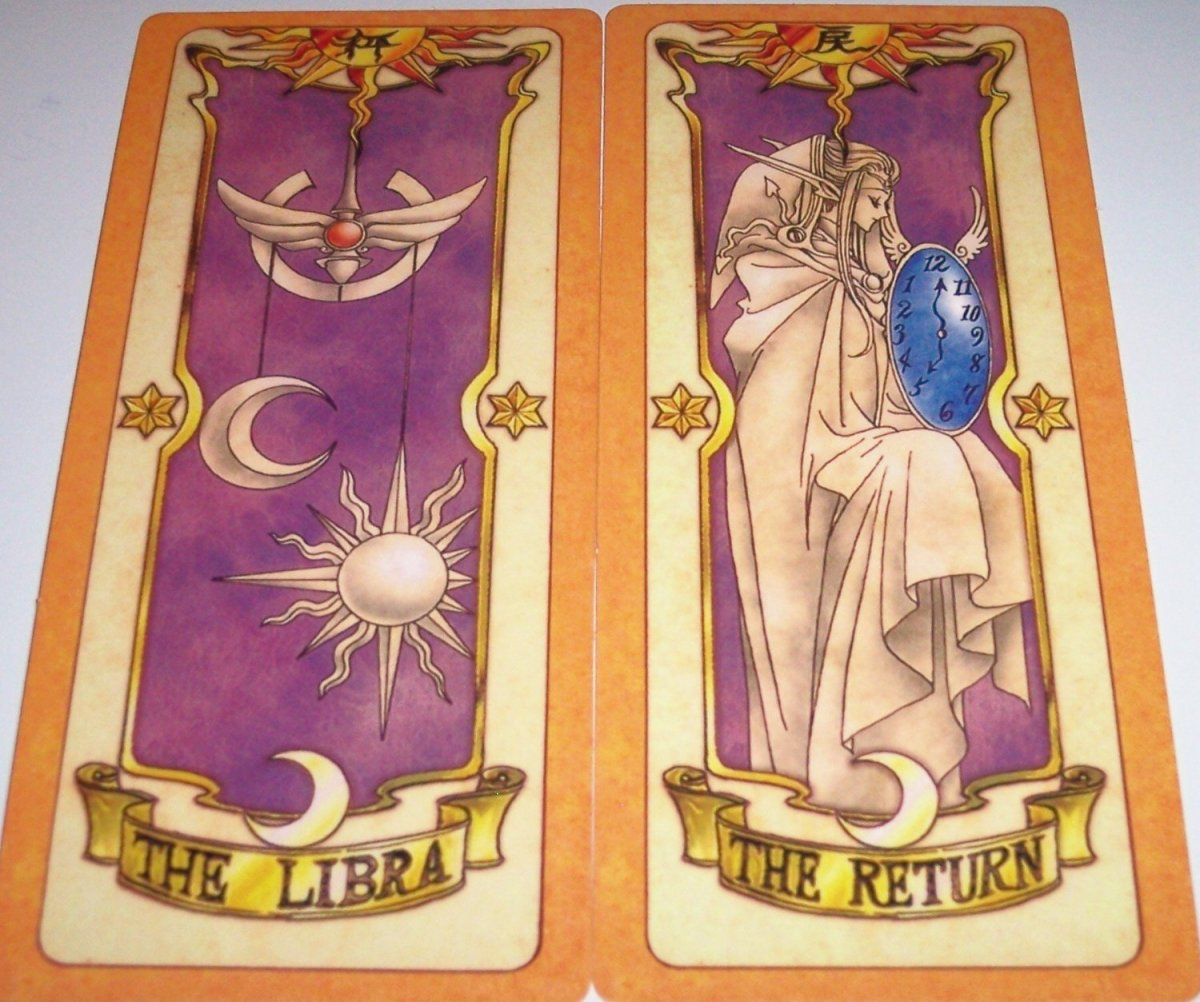 The Libra and The Return are what is known as Clow Cards from the Cardcaptor Sakura anime and manga series by CLAMP