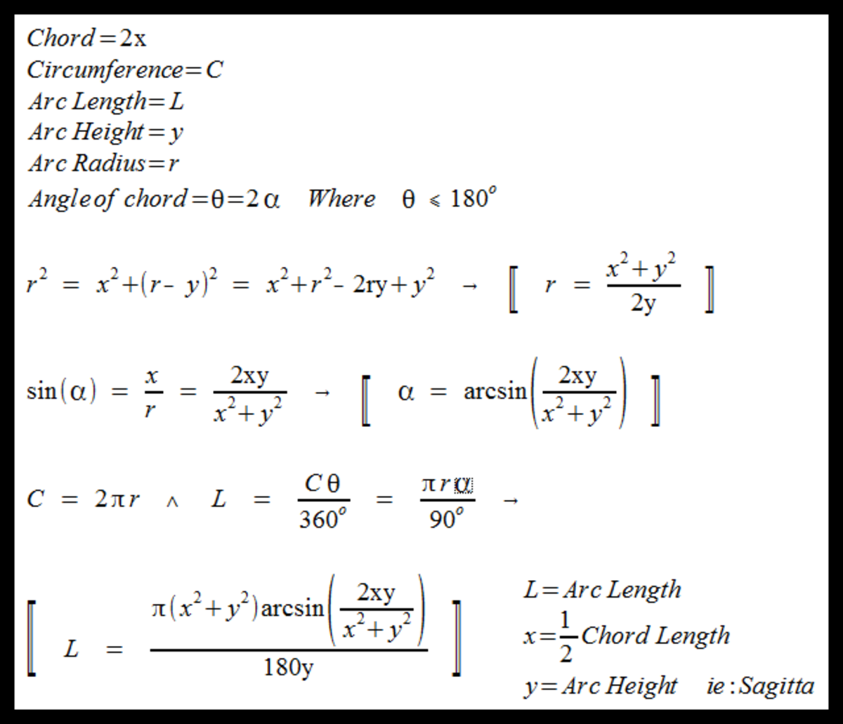 Arc length calculation given only the chord length and arc height arc length calculation derived ccuart Image collections