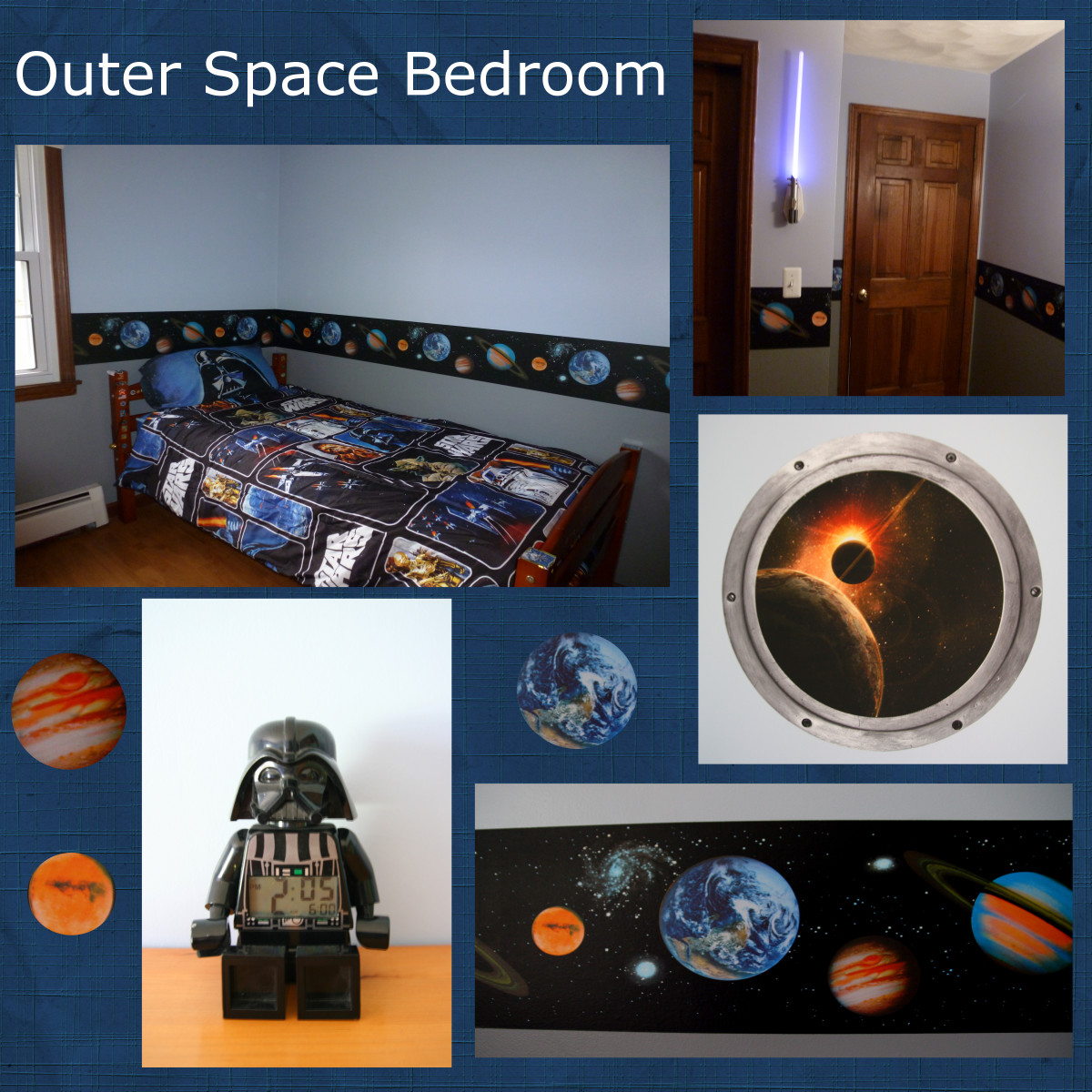 Design a colorful and interesting outer space themed bedroom.