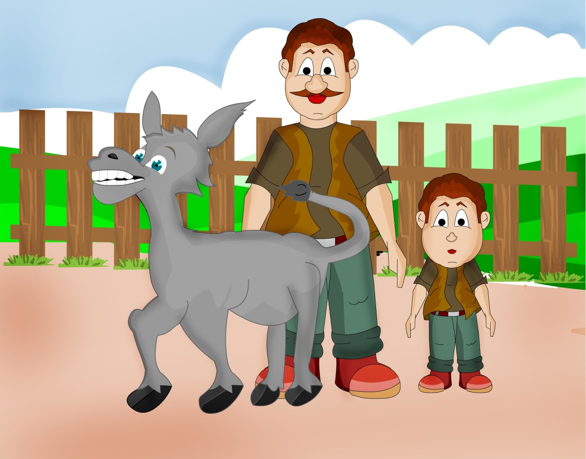 A story with a moral |The man, the boy and the donkey | Aesop's fables retold