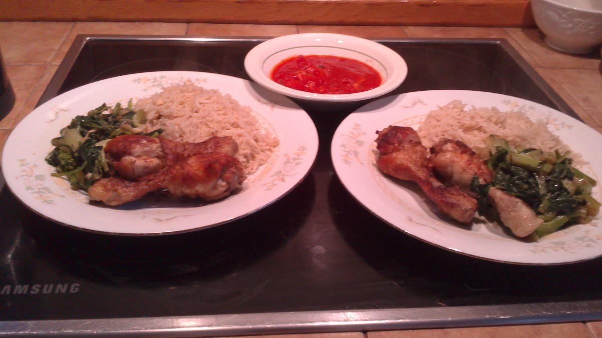 Machobos Diyay dinner for two with Dakkus(home made tomato sauce with garlic)