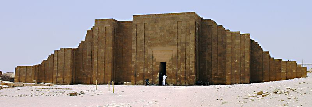 The reconstructed entrance gate to the Saqqara complex