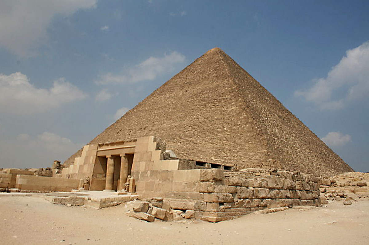 The Great Pyramid of Giza - Developed by 'filling in' the steps of a step pyramid to create a smooth sided structure. For thousands of years this was the tallest building in the world, and a recognised 'Wonder of the World'