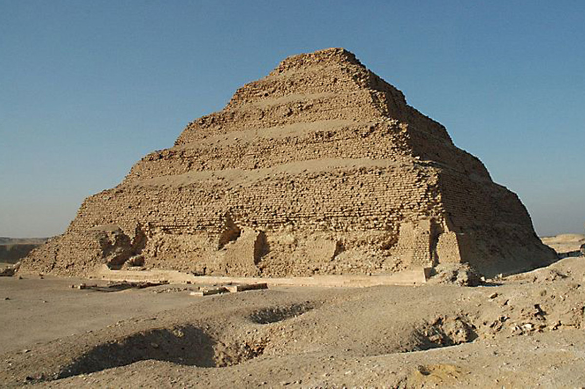 The Step Pyramid of Saqqara - created by Imhotep, this was effectively a series of mastabas reducing in size, one on top of the other, part of a huge complex of buildings and underground rooms.