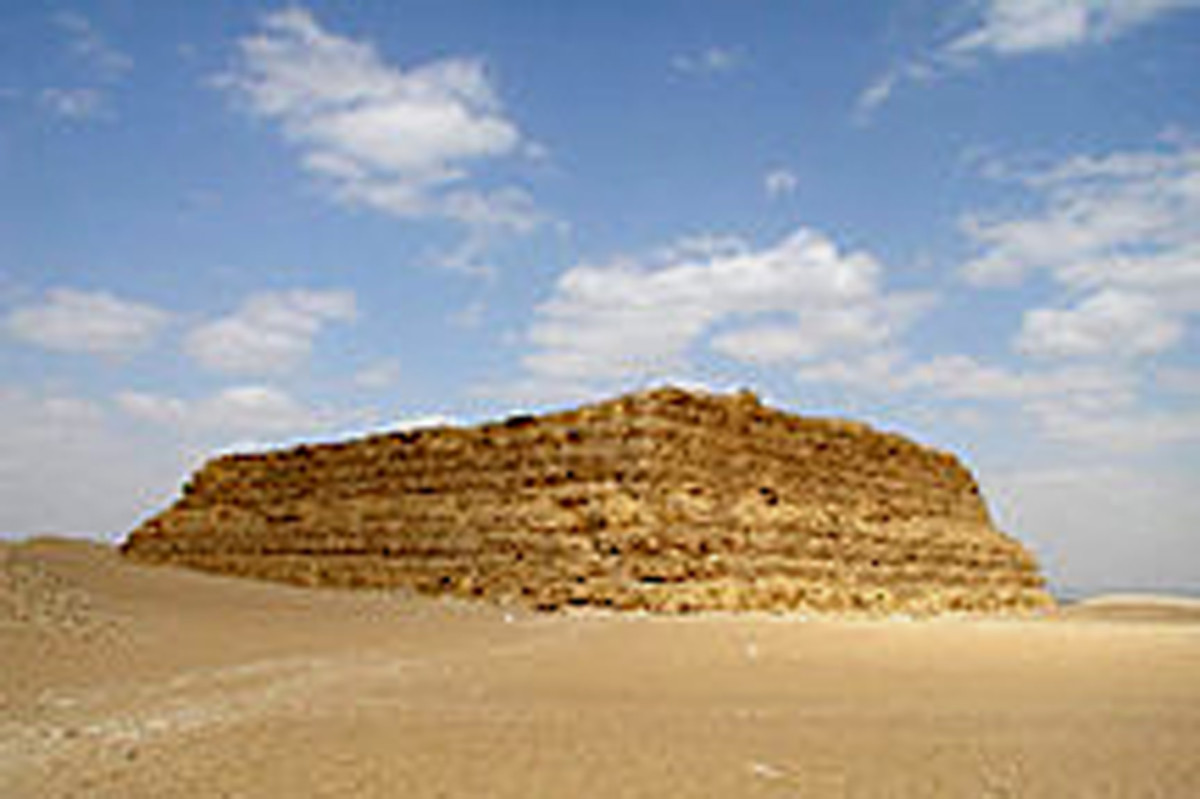 A simple mastaba - Before and after Imhotep these blocks or platforms of stones often covered the entrance to Nobles' tombs. The mastaba however, lacked the impressiveness which Pharaoh Djoser craved